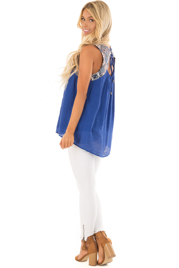 Cobalt Tank Top with Embroidered Yoke and Back Cutout Detail side full body