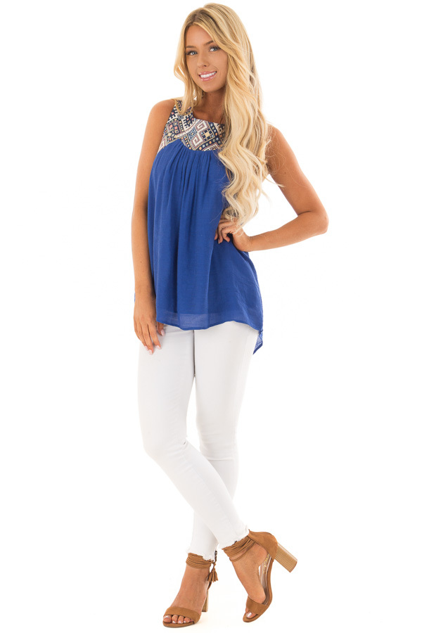 Cobalt Tank Top with Embroidered Yoke and Back Cutout Detail front full body