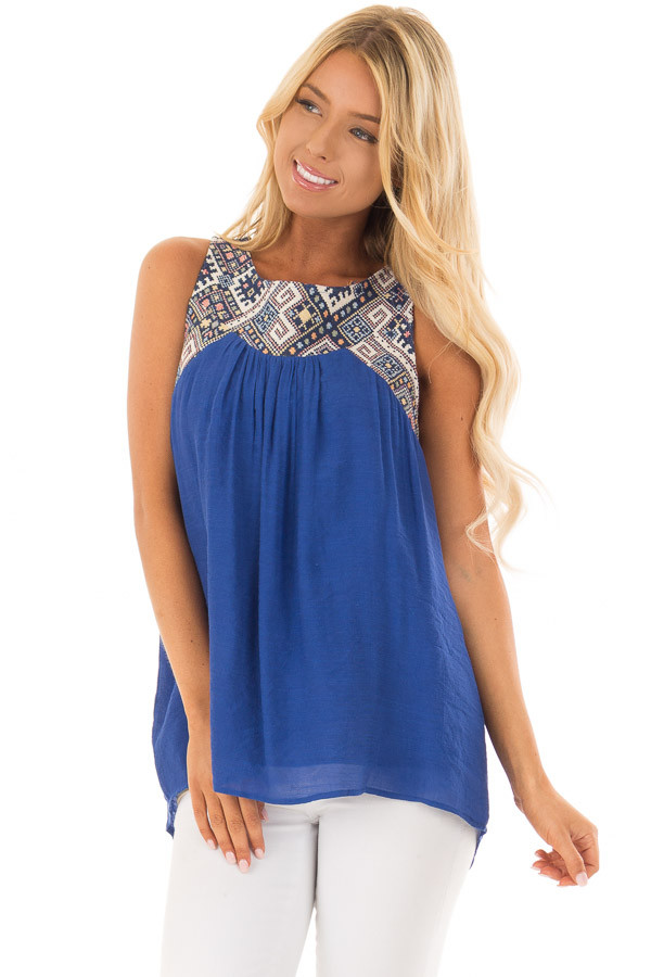 Cobalt Tank Top with Embroidered Yoke and Back Cutout Detail front closeup