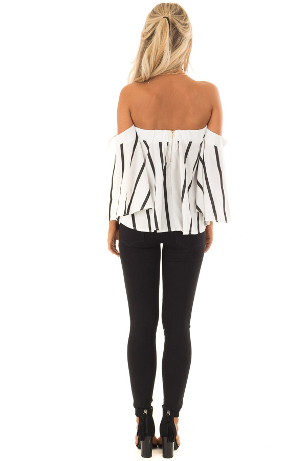 White and Black Striped Off the Shoulder Top back full body