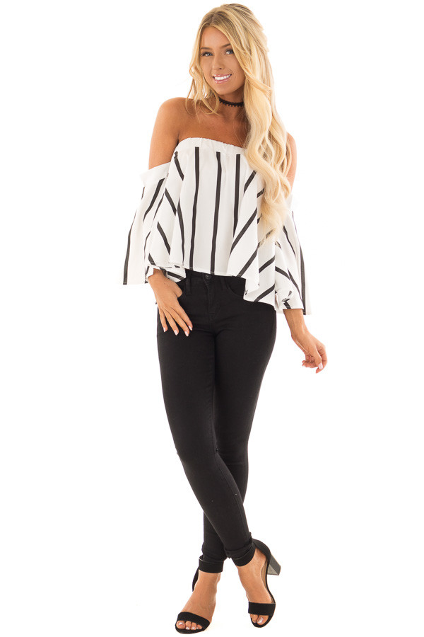 White and Black Striped Off the Shoulder Top front full body