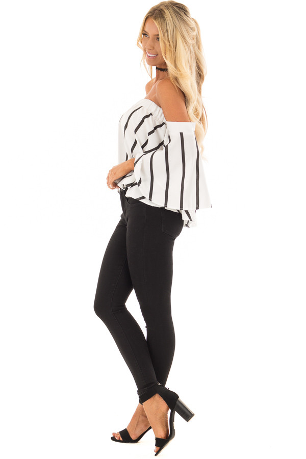 White and Black Striped Off the Shoulder Top side full body