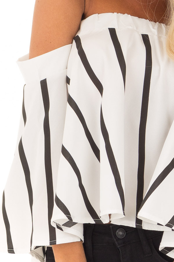 White and Black Striped Off the Shoulder Top detail