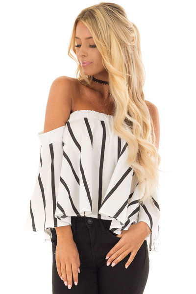 White and Black Striped Off the Shoulder Top front close up