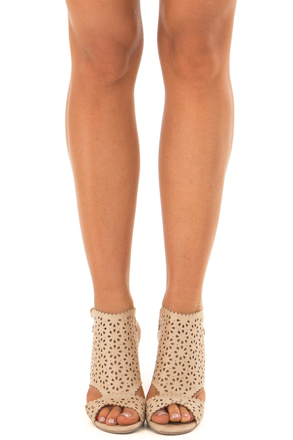 Light Taupe Daisy Eyelet Cut Out High Heels front view