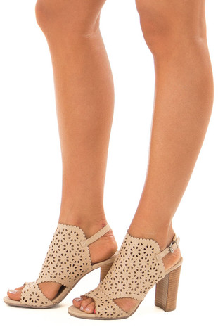 Light Taupe Daisy Eyelet Cut Out High Heels side view