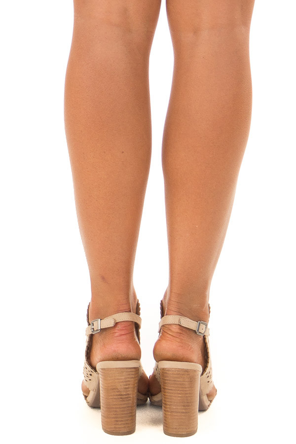 Light Taupe Daisy Eyelet Cut Out High Heels back view