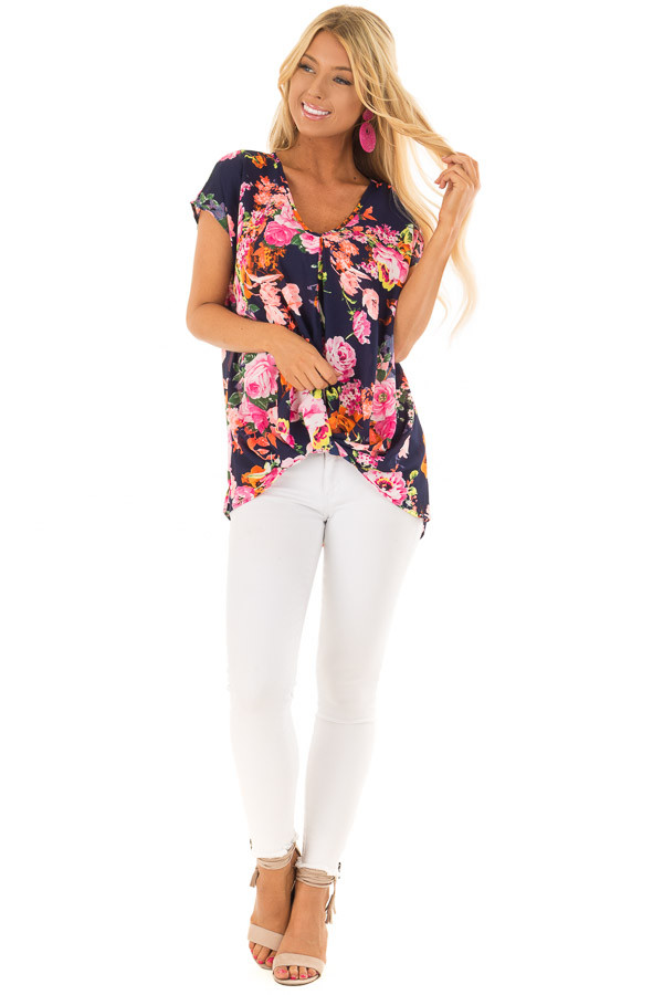 Navy Neon Floral V Neckline Top with Twist Detail front full body