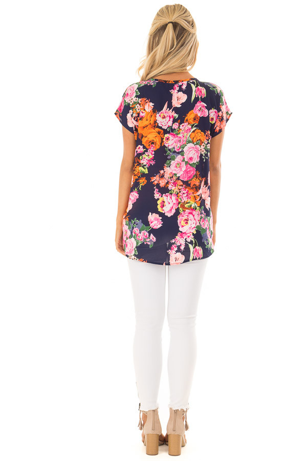 Navy Neon Floral V Neckline Top with Twist Detail back full body