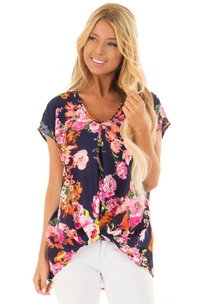 Navy Neon Floral V Neckline Top with Twist Detail front close up
