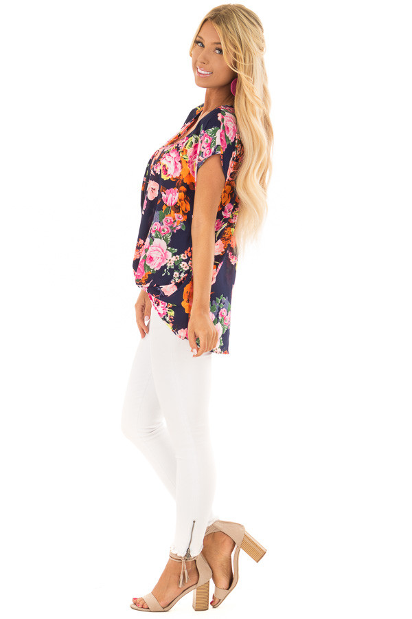 Navy Neon Floral V Neckline Top with Twist Detail side full body