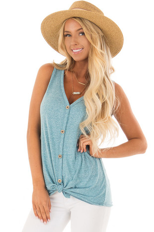 Ocean Blue Button Down Tank Top with Front Tie front close up