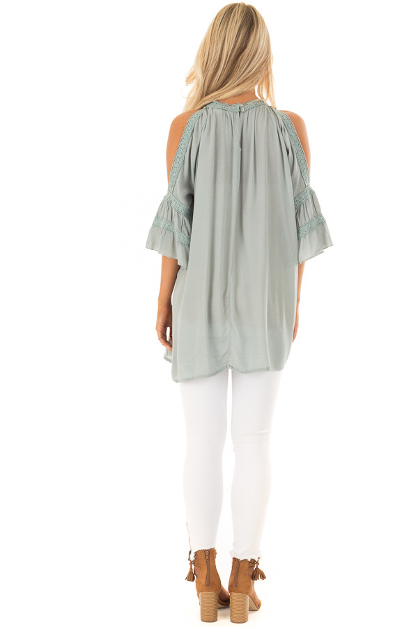 Dusty Sage Open Sleeve Top with Crochet Details back full body