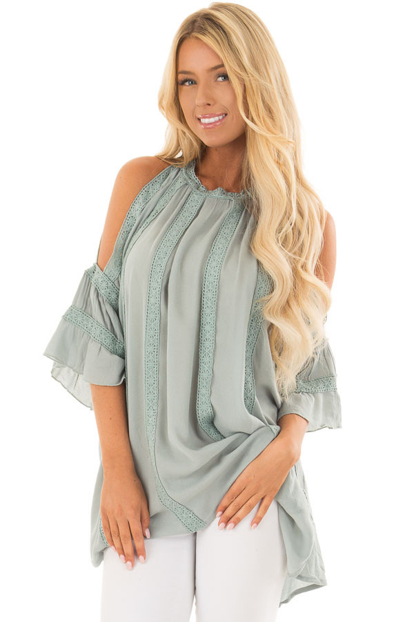 Dusty Sage Open Sleeve Top with Crochet Details front close up