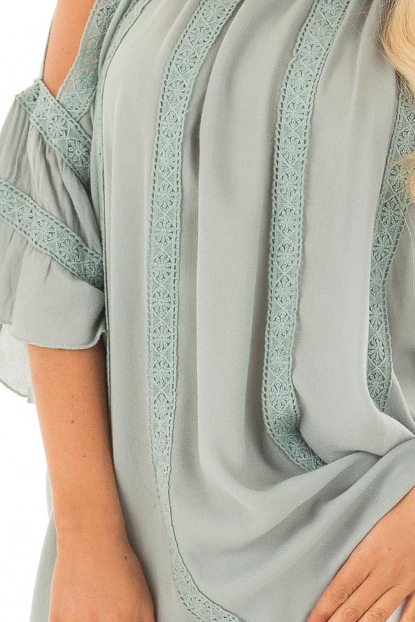 Dusty Sage Open Sleeve Top with Crochet Details detail