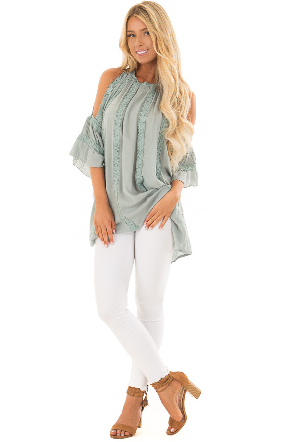 Dusty Sage Open Sleeve Top with Crochet Details front full body