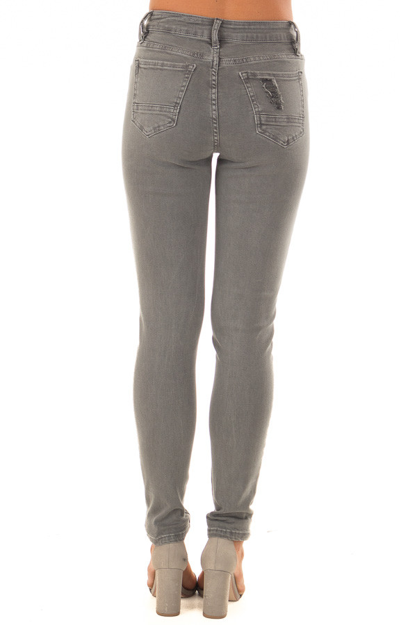 Charcoal Grey High Waist Jeans with Distressed Details back view