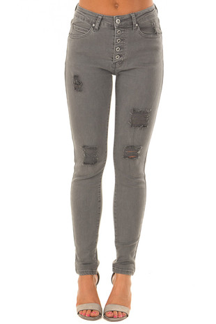 Charcoal Grey High Waist Jeans with Distressed Details front view