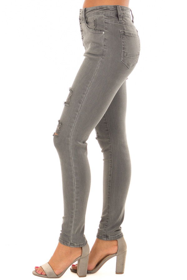Charcoal Grey High Waist Jeans with Distressed Details side view
