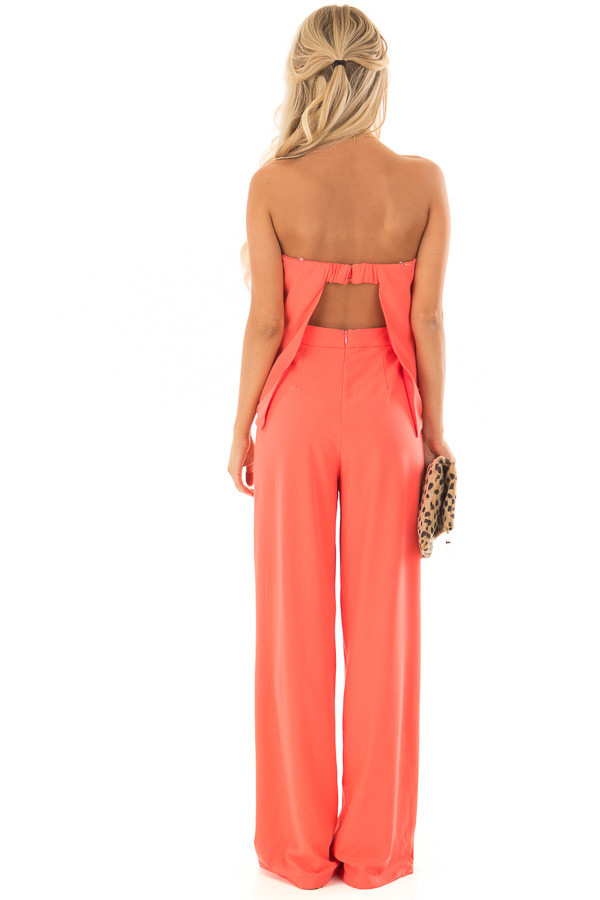 Bright Coral Strapless Drape Top Jumpsuit back full body