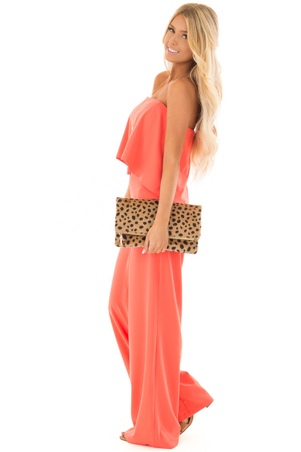 Bright Coral Strapless Drape Top Jumpsuit side full body