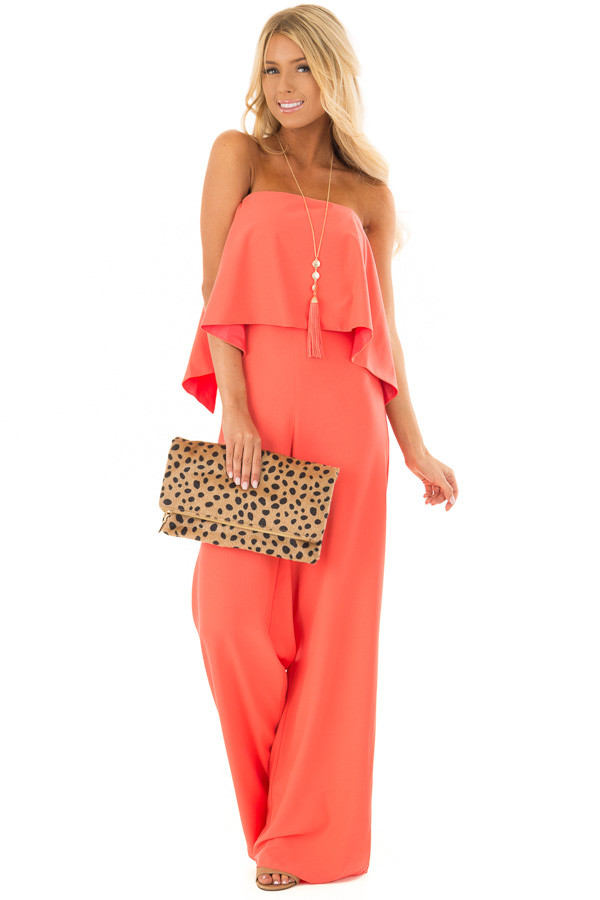 Bright Coral Strapless Drape Top Jumpsuit front full body