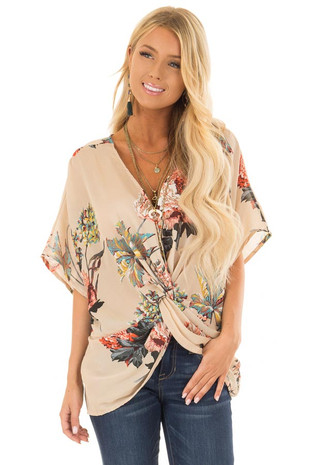Latte Floral Print Reversible Top with Twist Detail front close up