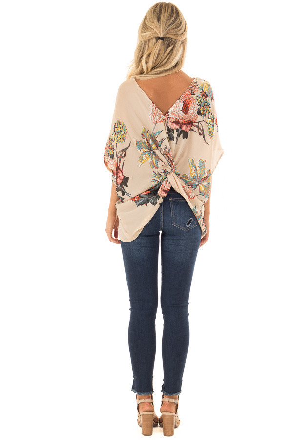 Latte Floral Print Reversible Top with Twist Detail back full body