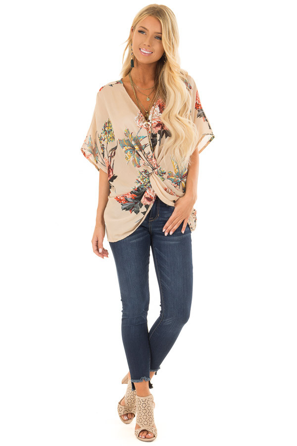 Latte Floral Print Reversible Top with Twist Detail front full body