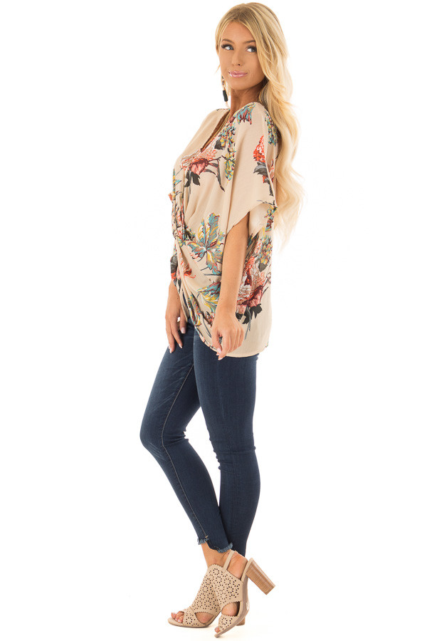 Latte Floral Print Reversible Top with Twist Detail side full body