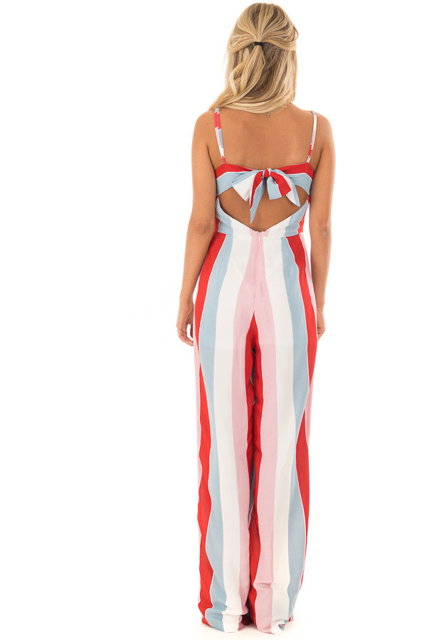 Multicolor Striped Open Back Jumpsuit with Tie Detail back full body