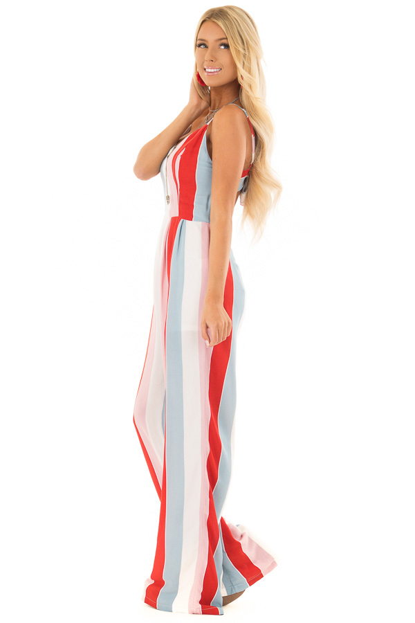 Multicolor Striped Open Back Jumpsuit with Tie Detail side full body