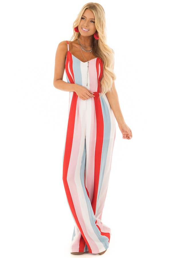 Multicolor Striped Open Back Jumpsuit with Tie Detail front full body