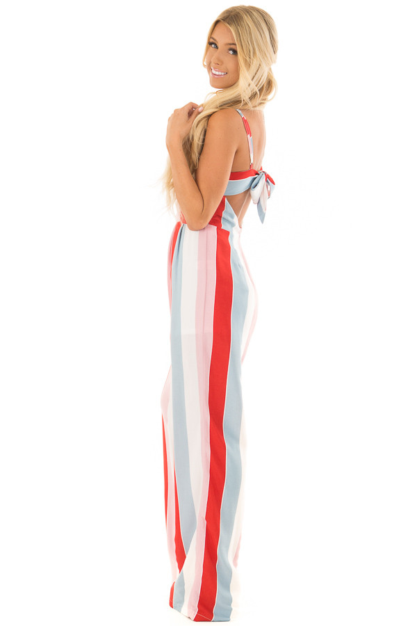 Multicolor Striped Open Back Jumpsuit with Tie Detail back side full body