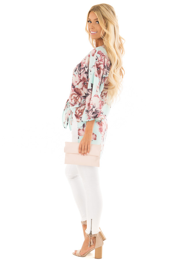 Mint Floral Print Kimono with Bell Sleeves and Slit Detail side full body
