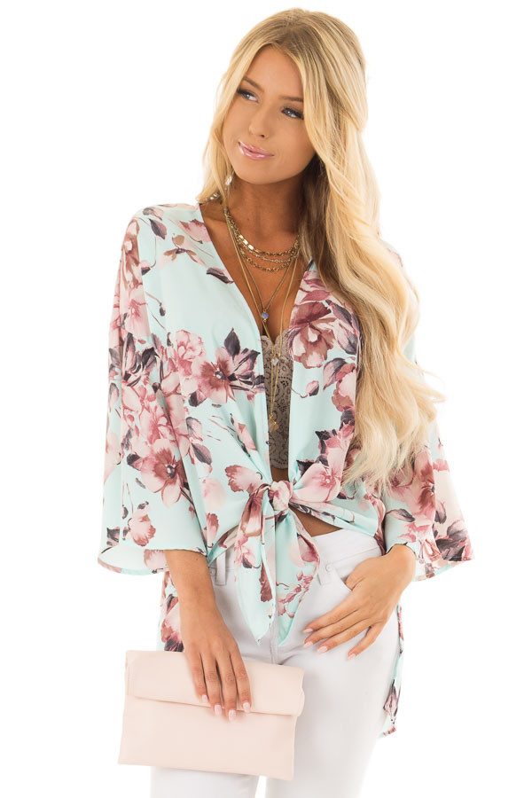 Mint Floral Print Kimono with Bell Sleeves and Slit Detail front close up