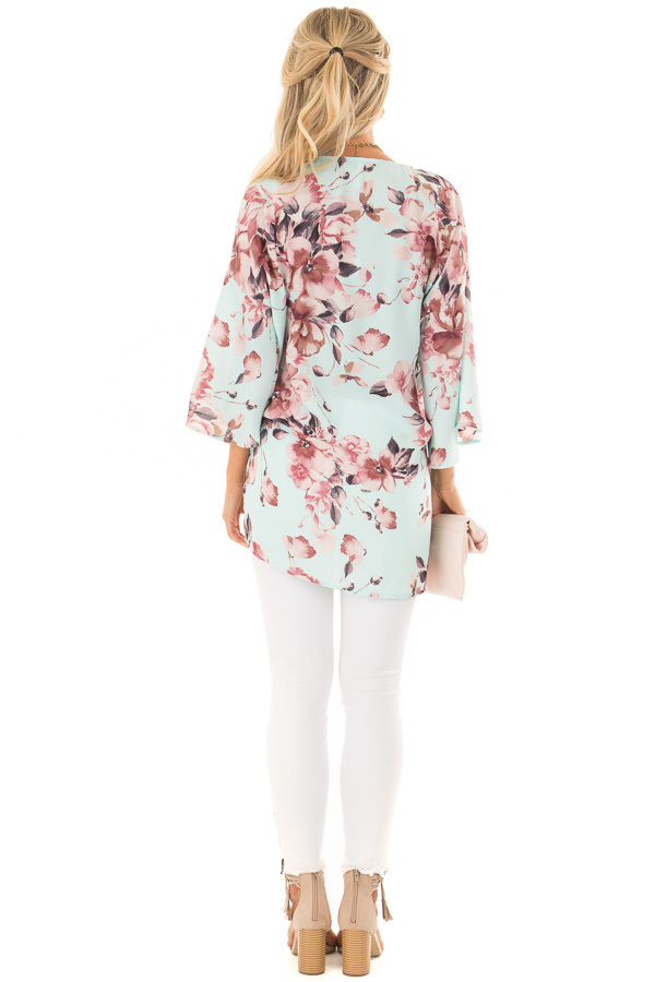 Mint Floral Print Kimono with Bell Sleeves and Slit Detail back full body