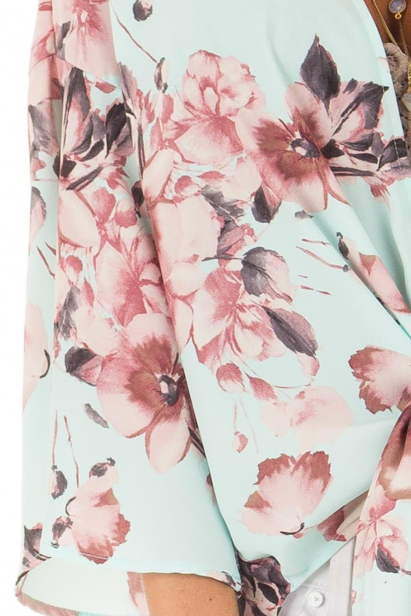 Mint Floral Print Kimono with Bell Sleeves and Slit Detail detail