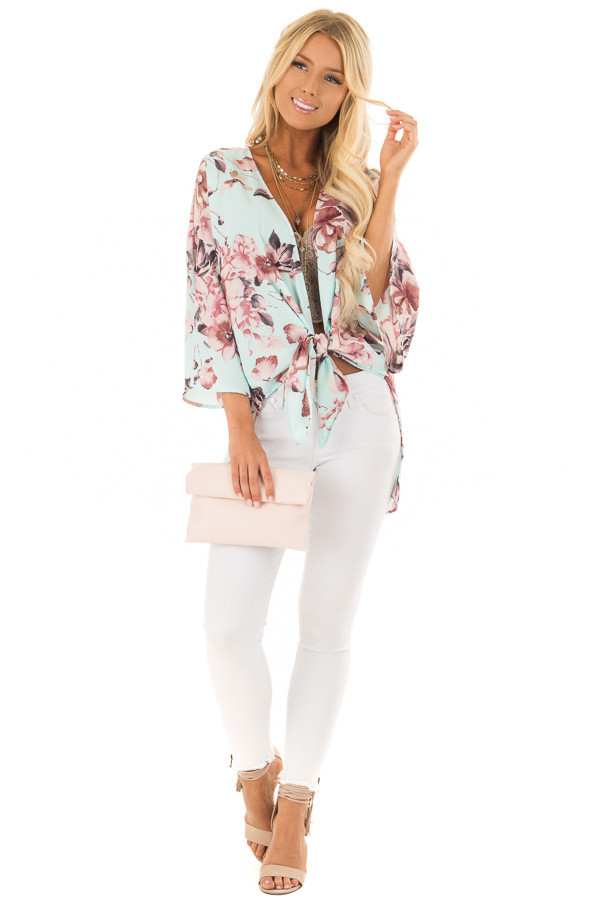Mint Floral Print Kimono with Bell Sleeves and Slit Detail front full body