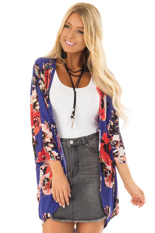 Royal Blue Floral Print 3/4 Sleeve Open Kimono front close up