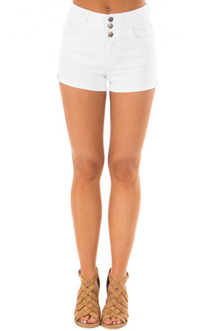 White High Waisted Denim Shorts with Cuffed Hem front view