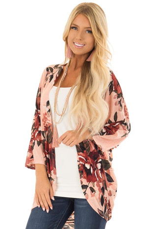 Peach Floral Print Cardigan with Cocoon Hemline front close up