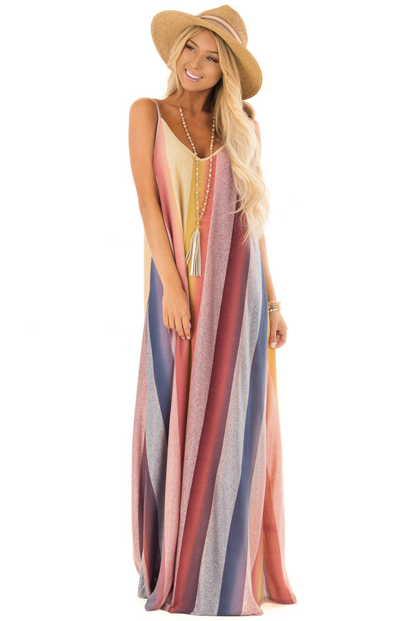Multicolor Striped Cocoon Maxi Dress front full body