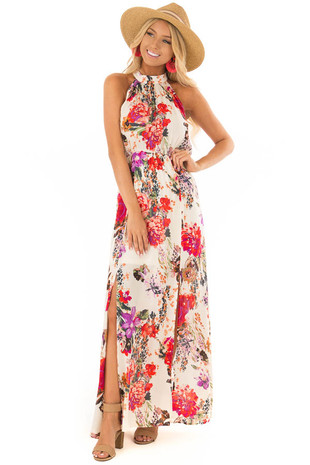 Ivory Halter Tie Back Floral Maxi Dress with Front Slits front full body