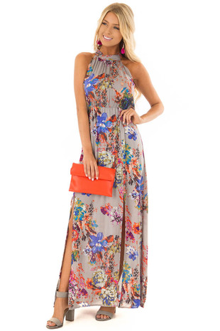 Steel Grey Halter Tie Back Floral Maxi Dress front close up