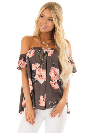 Olive Floral Print Off the Shoulder Short Sleeve Blouse front close up