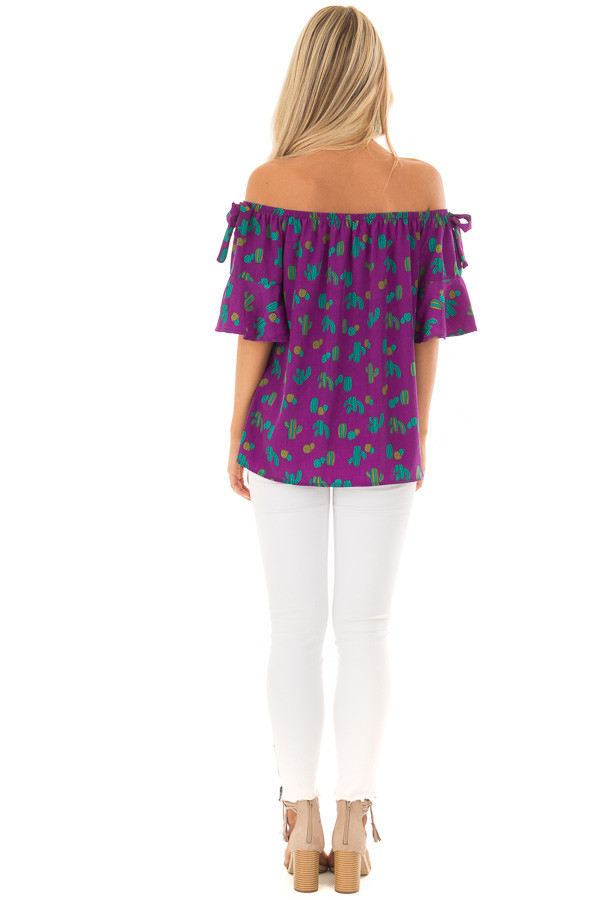 Electric Purple Cactus Print Off the Shoulder Top back full body