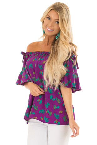 Electric Purple Cactus Print Off the Shoulder Top front close up
