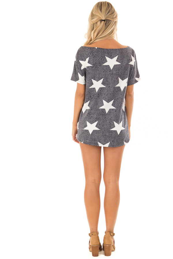 Navy Two Tone Star Print Boatneck Top with Front Twist back full body
