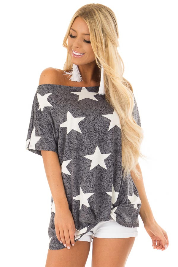 Navy Two Tone Star Print Boatneck Top with Front Twist front close up